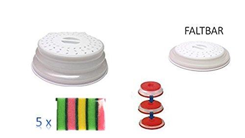 Mikrowellenhaube faltbar Farbe weiß + + Topfreiniger Schwamm 5er Pack 80x55x23mm