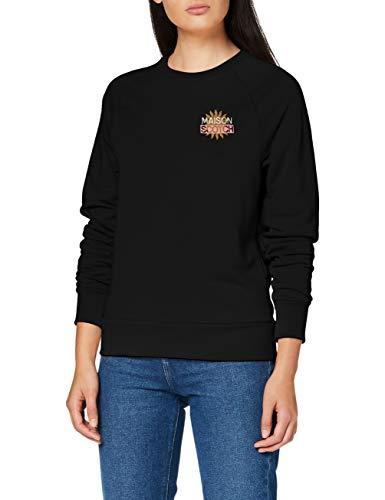 Scotch & Soda Maison Womens Baumwollmischung mit Logo-Artwork Sweatshirt, 0008 Black, S