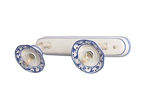 VANNI LAMPADARI - Lampada Parete art.002/404 orientabile tipo spot a n. 2 luci In Ceramica Decorata A Mano Disponibile In 5 Finiture