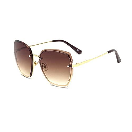 Powzz ornament 2021 nuevas gafas de sol sin montura femenina femenina grande marco de sol gafas de sol marea Europa y América Gafas de sol-U_U