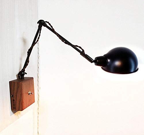 Lampade wandlamp, wandlamp, wandlamp, wandlamp, E14, vintage, van industrieel hout, eenvoudige persoonlijkheid, wandlamp met nachtkastje