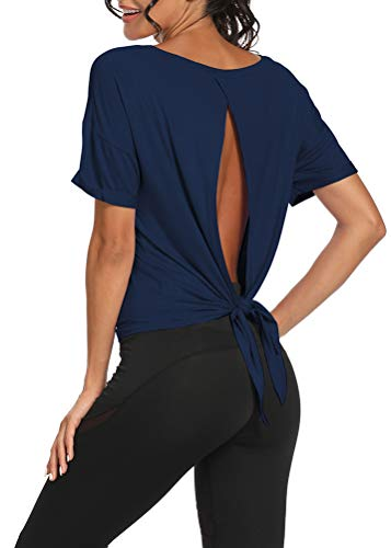 Bestisun Open Back Workout Tops Backless Shirts Athletic Tops Gym Clothes for Women Sexy Navy Blue M
