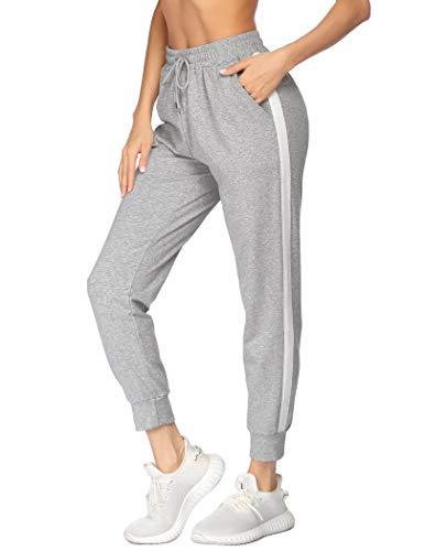 Damen Lang Sporthose mit Streifen Taschen High Waist Warm Jogginghose Yogahosen Loose Fit Weich Trainingshose Schlafhose aus Baumwolle Weich Lounge Grau M