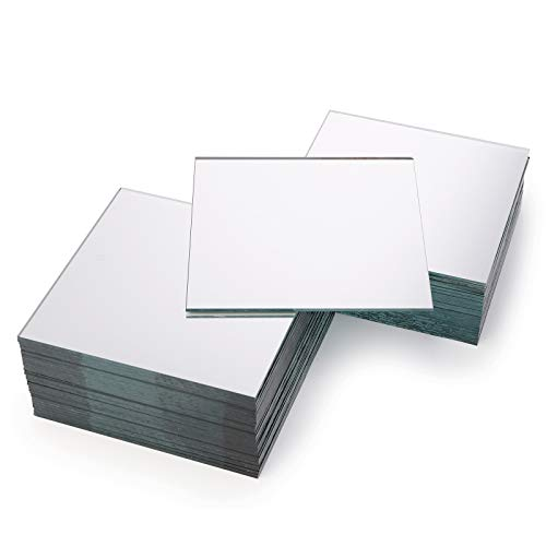 Suwimut 50 Pack Square Mirror Tiles, 4 Inches Glass Mirror Panels for Wall, Home...
