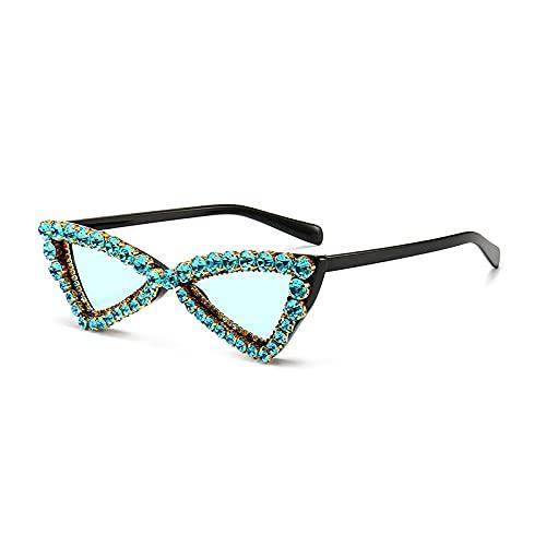 ShZyywrl Gafas De Sol De Moda Unisex Gafas De Sol De Ojos De Gato para Mujer, Sombras De Cristal A La Moda, Uv400, Gafas De Sol con Diamantes De Imitación, Gaf
