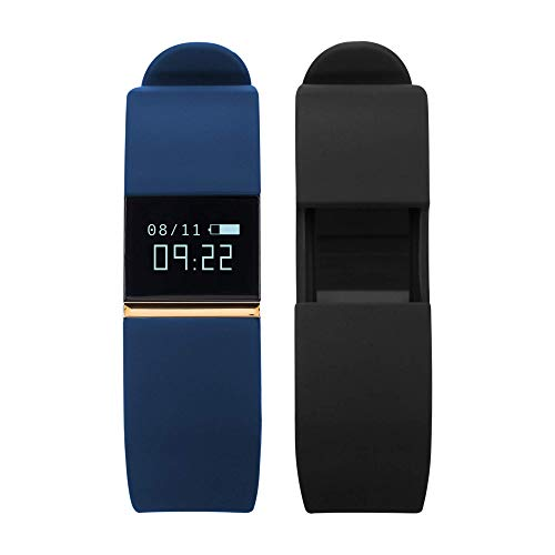 iTouch Quartz Fitness Watch with Rubber Strap, Blue, 20 (Model: IFT2432BK668-273
