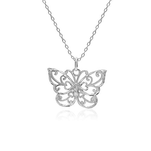 Sterling Silver Diamond-Cut Filigree Butterfly Pendant Necklace