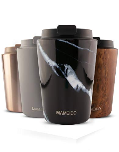 MAMEIDO Mug Isotherme 350 ml Black Marble - Thermos Café, Tasse à thé en acier inoxydable sans BPA, 100% Hermétique, 4 heures de chaleur