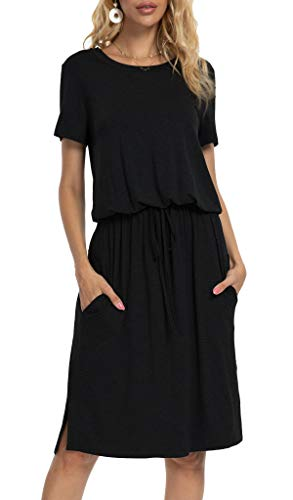 Womens Plain Short Sleeve Casual Pockets Modest Midi Dress with Belt Black XL