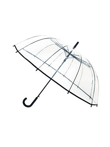 SMATI Dames volautomatische paraplu transparant klok paraplu met 12 spaken glasvezel/satijn bekleding/wind donker - grote bruiloft paraplu voor 2 XXL/doorzichtig (zwart)