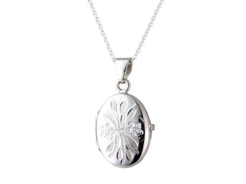 Broche de plata de ley grabado con camafeo Oval lámpara de techo colgante con 45,72 cm cadena, caja de regalo