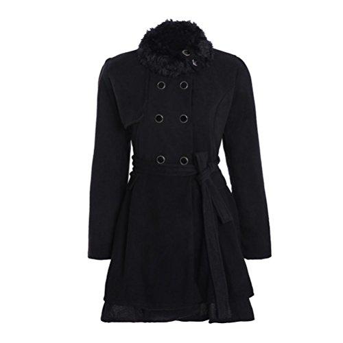 VEMOW Damen mode mit umgekehrtem kragen langarm-mantel schwarz 0-3 monate