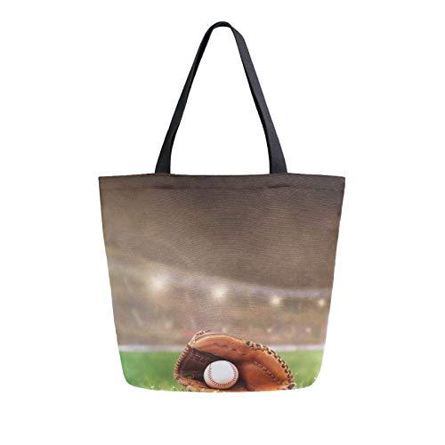 RELEESSS Sport Baseball Handschuh Damen Canvas Tote Bag Strandtasche Einkaufstasche Schultertasche Handtasche