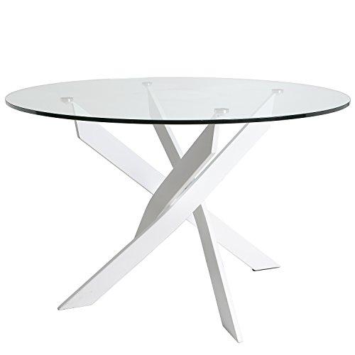 Runder Tisch Petra 120 cm Farbe Weiß, Metallbeine, gehärtetes Glas