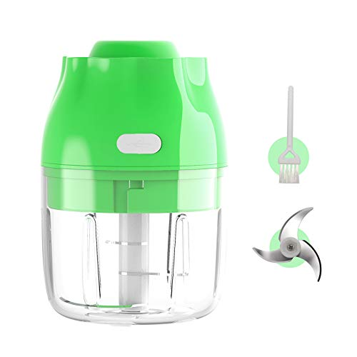 Electric Mini Chopper Garlic food Chopper, Y YDDG Portable Cordless Food Processor Waterproof Fruit Slicer For Meat Vegetables Ginger Onion Chili Nuts-250ml Green