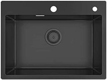 KORVO - Fregadero de cocina con forma de gota, de acero inoxidable, calibre 18, color negro mate (60cm * 45cm)