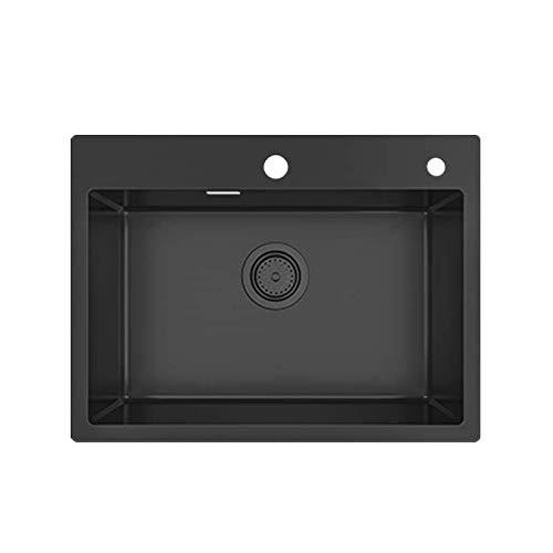 KORVO Schwarze Einbauspüle, 60 x 45 cm handgefertigt aus Edelstahl Einzelbecken, Küchenspüle gesprenkelt reversibel + Siphon Waschbecken