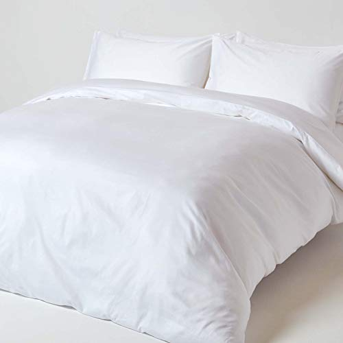 HOMESCAPES White Organic Cotton Duvet Cover Set King Size 400TC 600 Thread Count Equivalent Quilt Cover Bedding Set 2 Pillowcases Included