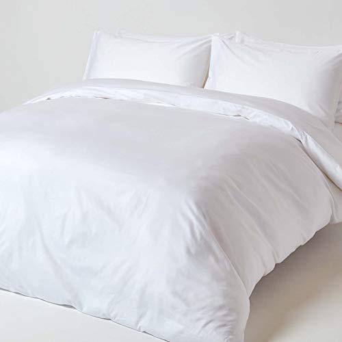 HOMESCAPES - Housse de Couette et taies d'oreiller Unis en Coton Bio 400 Fils, Coloris Blanc - 260 x 220 cm