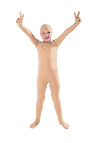 Full Bodysuit Kids Open Face Costume Spandex Stretch Zentai Child Suit (Large, Nude)