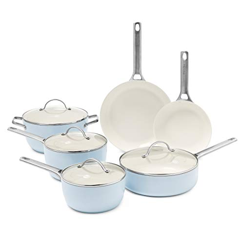 GreenPan Padova Ceramic Non-Stick 10Pc Cookware Set, Light Blue -