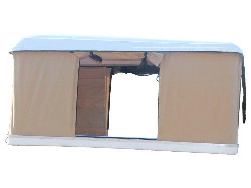 Prime Tech Hartschalen-Autodachzelt, GFK beige, Öffnung automatisch
