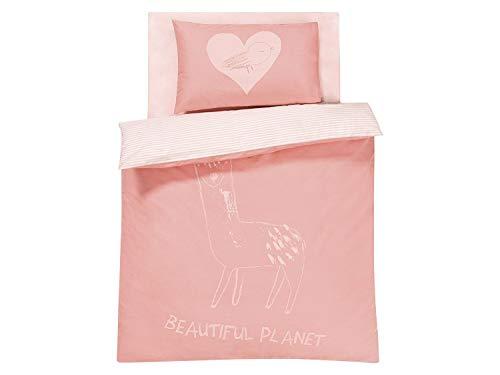 Lupilu Bio Organic - Juego de cama para bebé (sábana bajera, funda de edredón y funda de almohada) rosa Rosa.