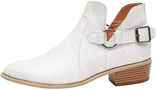 Minetom Chelsea Boots Damen Ankle Stiefeletten Kurzschaft Wildleder Leder mit Absatz Kurze Reissverschluss 2.5cm Winter Stiefel Beige Grau 35-43 Weiß 38 EU