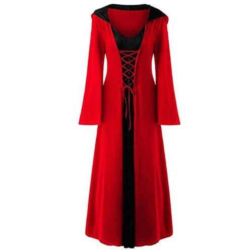 SUMTTER Karneval Kostüm Damen Gothic Kleidung Mittelalterliches Kleid Faschingskostüme Bodenlangen Vintage Kleid lang Sale für Halloween Weihnachten