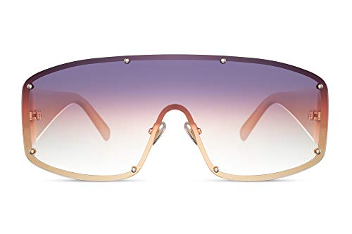 Cheapass Gafas de sol Alta Protección De Morado a Rosa Lentes Graduales de una Pieza con protección UV400 con Pink Temples Mujeres Alta Costura