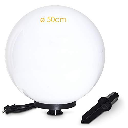 Boule lumineuse Miau de 50 cm de diamètre sur piquet, avec câble d'alimentation de 5m, résistant aux intempéries, pour une ampoule E27, compatible avec des ampoules LED