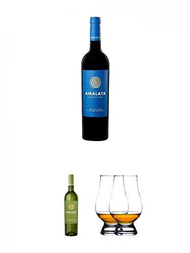 Amalaya Tinto (blaues Label) Wein Argentinien 0,75 Liter + Amalaya Tinto (grünes Label) Wein Argentinien 0,75 Liter + The Glencairn Glass Whisky Glas Stölzle 2 Stück