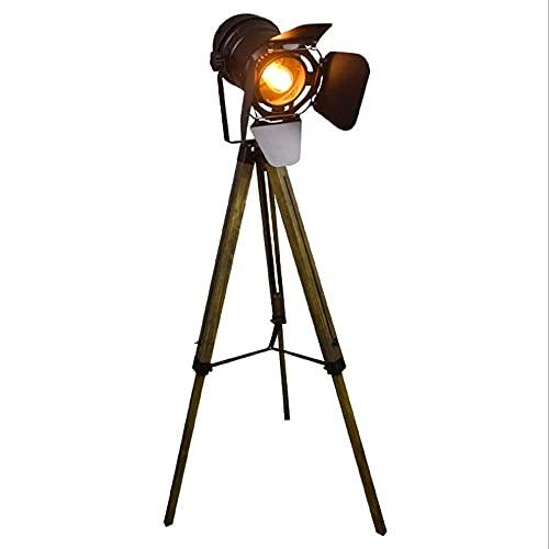 NARUJUBU Decorativo de madera maciza trípode E27 Lámpara de pie, Cuerpo de Luz altura se puede ajustar libremente, comedor, dormitorio, Corredor de iluminación 60 * 100cm
