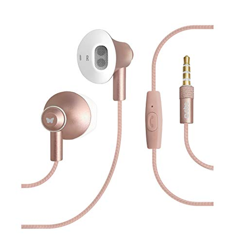 SBS in Ear Kopfhörer mit Kabel - Kopfhörer mit Mikrofon & Gummipolster - Kopfhörer in pink für Smartphone, Handy & PC - Drahtlose Kopfhörer