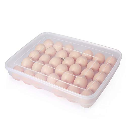 77L Egg Container, 34 Large Egg Container with Lid for Refrigerator, Plastic Clear Portable Egg Tray - Protect and Keep Fresh, Stackable Egg Holder Case