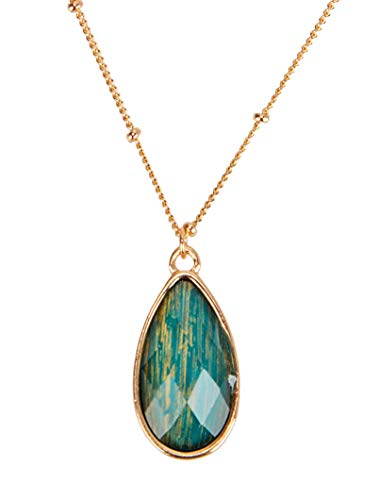 SPUNKYsoul Faceted Pear Shaped Pendant Necklace for Women (Teal)