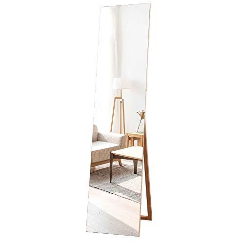 MiraHope 全身ミラー 壁掛けミラー 木製 シンプル 全身鏡 ノーフレーム おしゃれ スダンドミラー150*35CM