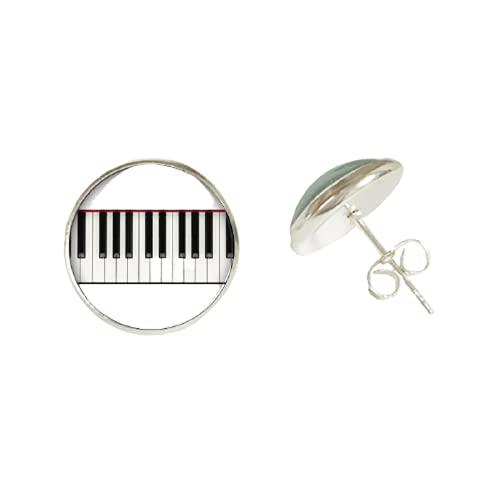 Pendientes de cristal con forma de corazón para piano y teclado, con forma de cabujón, de acero inoxidable