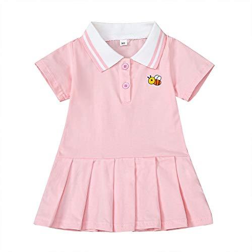 sunnymi Sommer Bekleidungssets für Baby Mädchen,0-5 Jahre Kleinkind Baby Mädchen Kurzarm Turn-Down Kragen Rüschen Cartoon Prinzessin Kleid