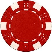 DA VINCI 50 Clay Composite Dice Striped 11.5 Gram Poker Chips, Red