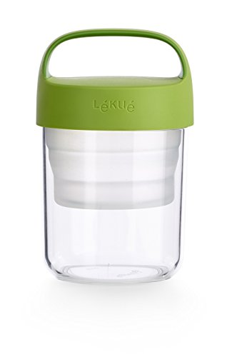 Lekue Jar To Go. 2Pc Travel Jar/Container 14oz, Collapsible Silicone Insert Separates Liquid & Dry Ingredients, Green