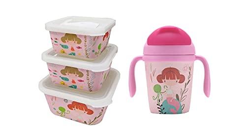 Pack 3 Tupper de Bambú Infantil Sirena + Vaso 300 ML. Fibra de Bambú | Vajilla Fibra de Bambú. Ecológico. Apto lavavajillas. Sin BPA | Perfecto para Niños.