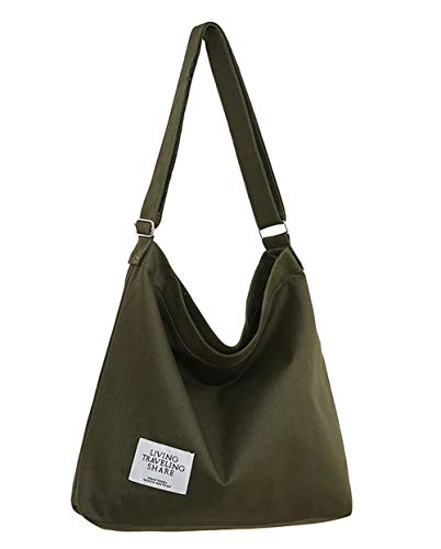 Covelin Women's Retro Large Size Canvas Shoulder Bag Hobo Crossbody Handbag Casual Tote Army Green