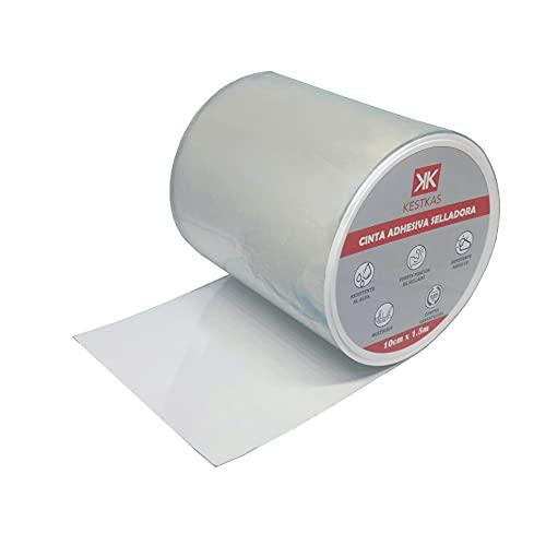 Cinta Adhesiva Selladora 10cm x1.5m KESTKAS Multiusos - Transparente - Impermeable - Reparación de Fugas - Resistente - Máxima Adherencia - Fácil Aplicación