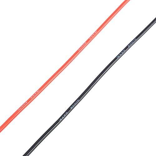 Dilwe 16AWG 2m Flexible Weiche Silikonkabel Elektronisch Verzinnt Kupfer Verseilt 16 Gauge Draht für RC Modelle Spielzeug (1 Meter Rot + 1 Meter Schwarz)