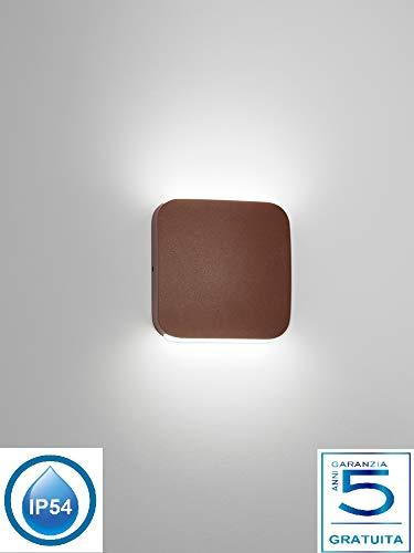 Applique per esterni marrone corten design moderna mattonella quadrata led 6w 4000k luce naturale ip54 garanzia 5 anni italia