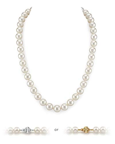 THE PEARL SOURCE 14K Gold 10-11mm AAA Quality Round White Freshwater Cultured Pearl Necklace for Women in 18