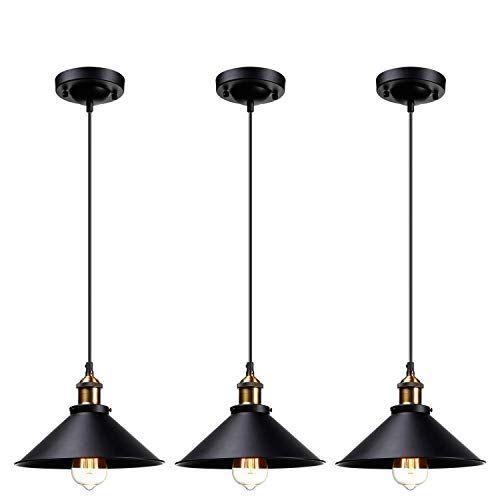 Lámpara colgante industrial rústica, estilo campesinero, pantalla de metal negro mate, luz colgante de estilo retro, para cocina, barra, almacén, base E27, juego de 3
