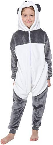 corimori 1851 MEI der Panda Kinder Jungen Mädchen Onesie Jumpsuit Anzug Kostüm Verkleidung (Gr. 130-150 cm), Grau Weiß