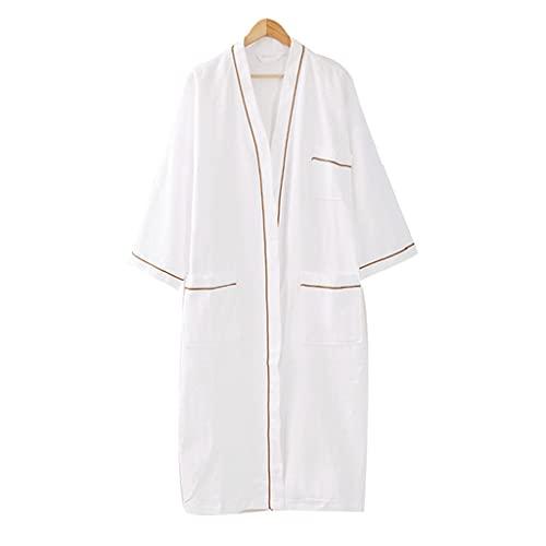ZYING Albornoz De Gofres Pijamas Suaves Transpirables Y Agradables A La Piel De Algodón Puro Pijamas De Albornoz Femenino (Color : A, Size : XL Code)